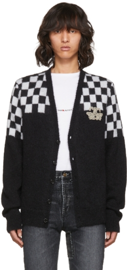 Half Check Embroidered Cardigan ($723), by Saint Laurent