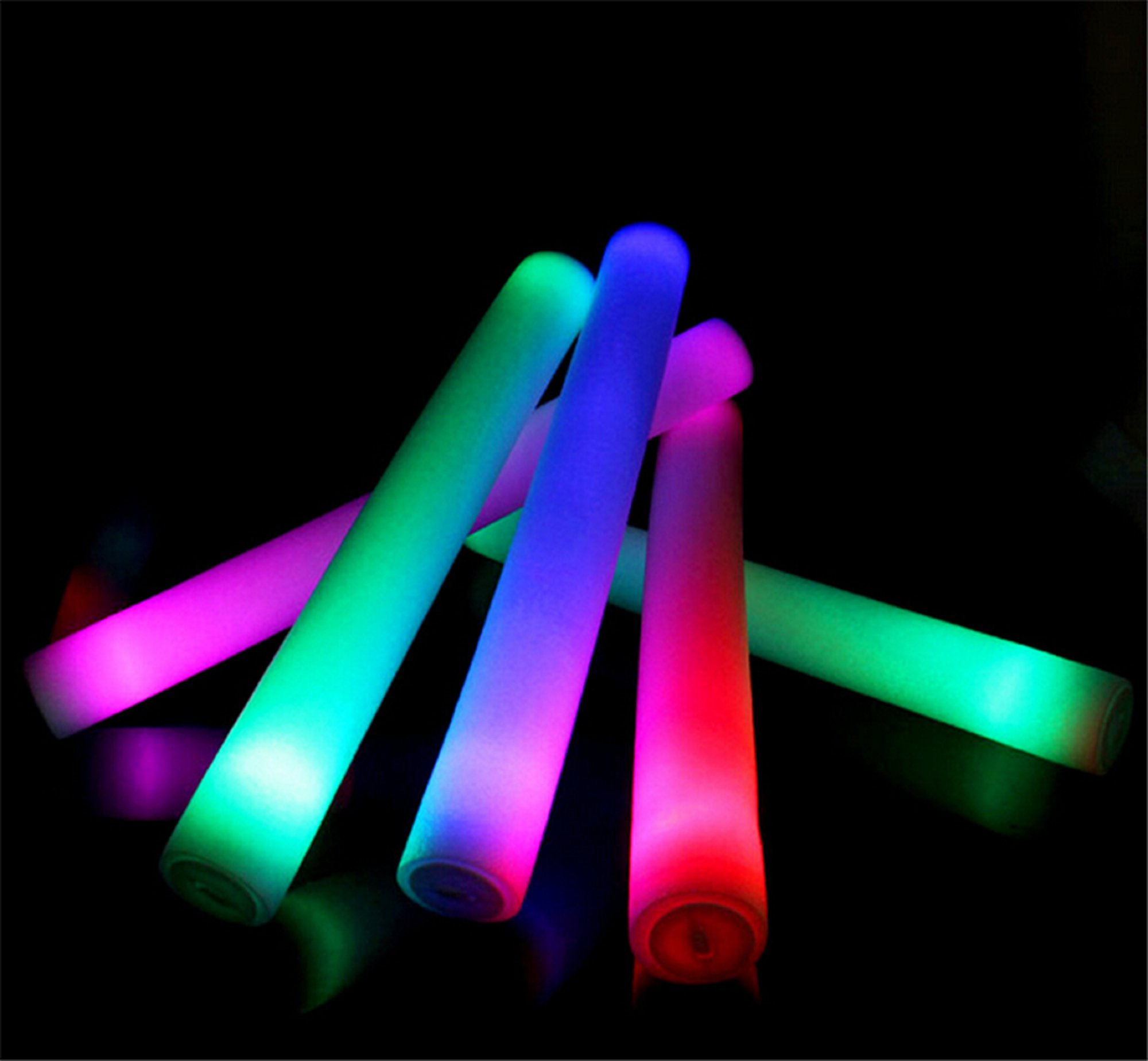 LED Foam Sticks - Our high quality LED foam sticks are sure to add more class, brightness and fun to your event.Popular for parties, concerts, nightclubs, weddings, bar/bat mitzvahs and much more.Description: 40cm x 4.8cm with an impressive 6 color mode function.Contact us now for pricing and to place your order (Pickup in Toronto).