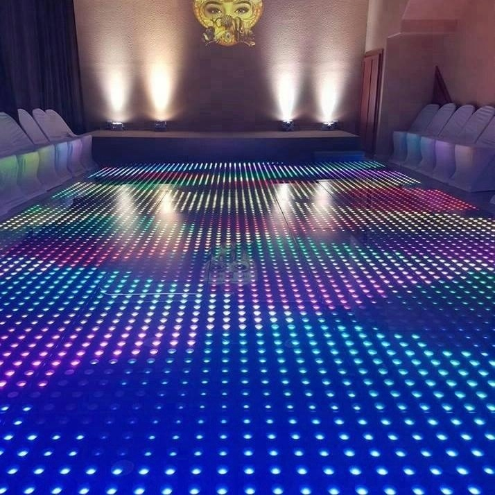 LED DANCE FLOOR - This new Smart LED dance floor is bound to get guests on the dance floor. It adds a surprising and dazzling feature to the room.As soon as the guests step onto it a new type dancing and light interaction with the dance floor is experienced like never before. Rental of the Smart LED dance floor in Toronto does include the installation and tear down service.This new type of dance floor is great feature for weddings, corporate events and birthdays.Description: 16 x 16 feet and other size options. Has multicoloured light displays.Contact us now for pricing and further details.