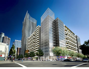Developer Sonny Astani plans to build three condominium towers on the lot at Eighth Street and Grand Avenue.  The $500 million project will include a public paseo. Rendering by AVRP.