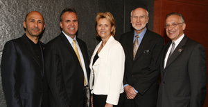 Those receiving Viterbi alumni awards this year included, left to right, Sonny H. Astani, Steven DenBaars, Carol Bartz and Karl Weiss. Dean Yannis C. Yortsos is on right.