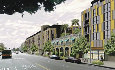 Rendering shows the proposed 280-unit High Line West apartment and retail complex that would rise around a historic Falcon Studios building on Hollywood Boulevard near Western Avenue. (Astani Enterprises Inc. / October 25, 2012)