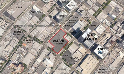 The parking lots purchased by developer Sonny Astani in downtown Los Angeles are outlined in red. (Astani Enterprises Inc.)