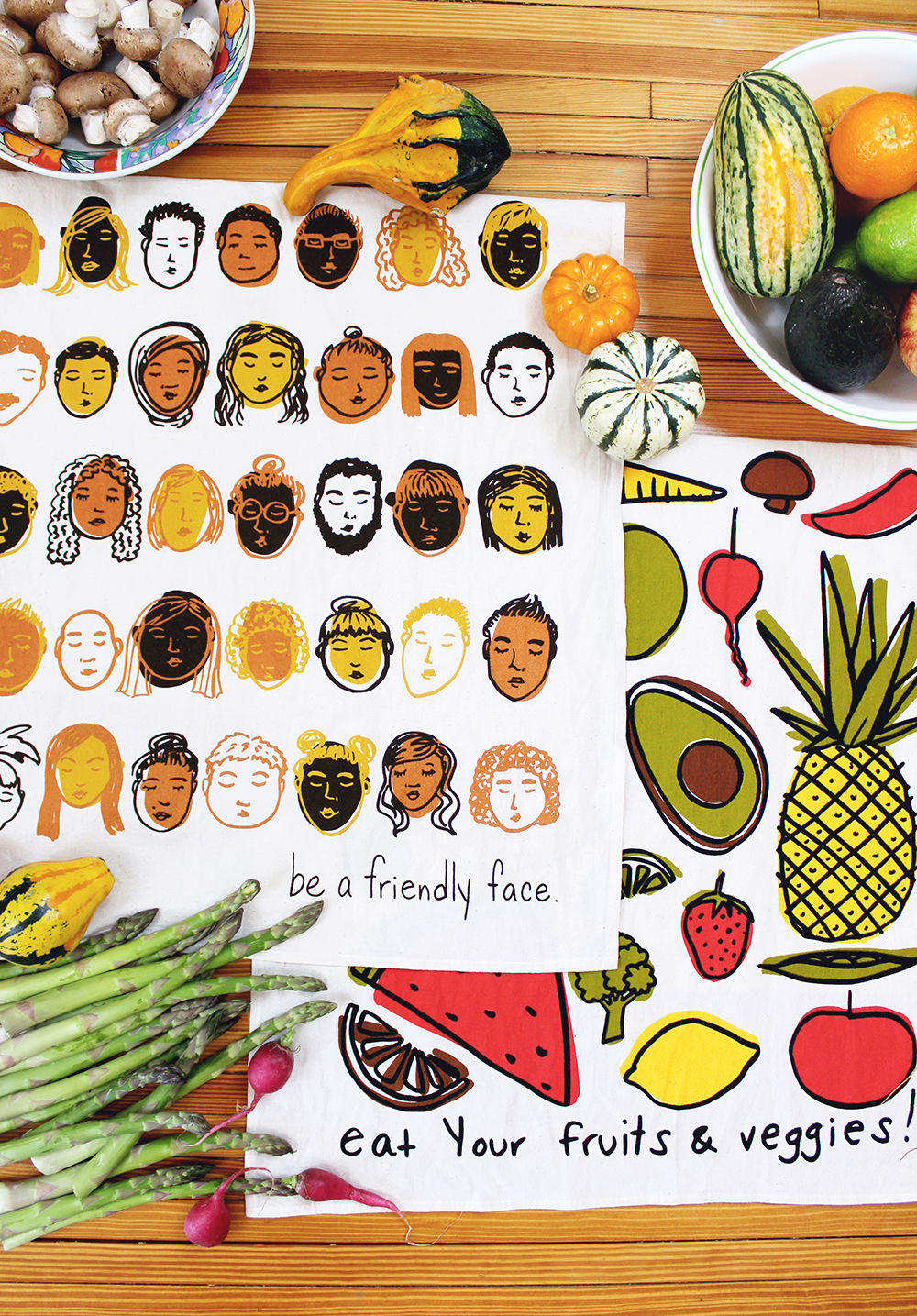 Calhoun & Co. Dish Towels - Friendly Faces and Fruits & Veggies