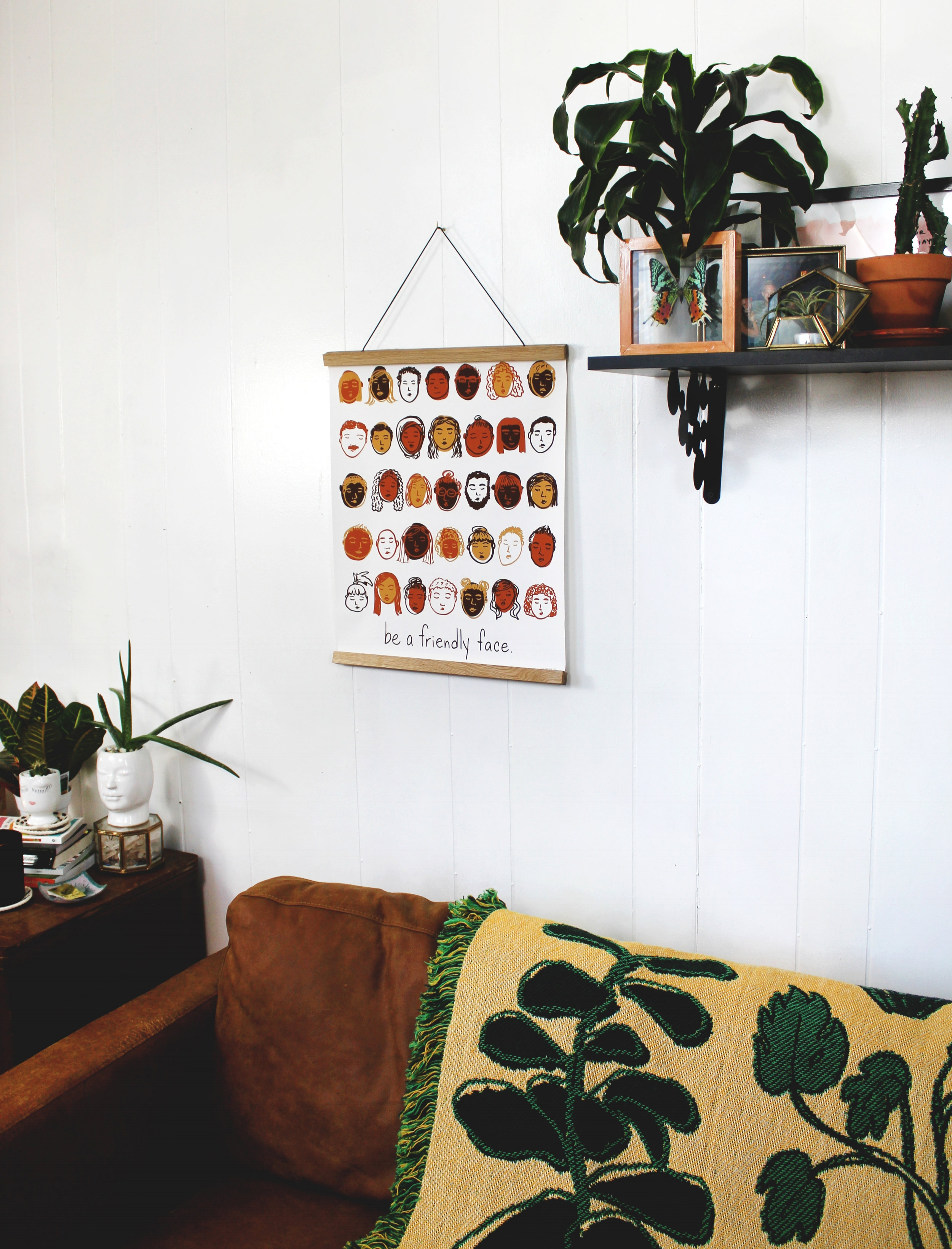 Be A Friendly Face artwork printed by Parabo Press & shown with our  Plants!  throw.