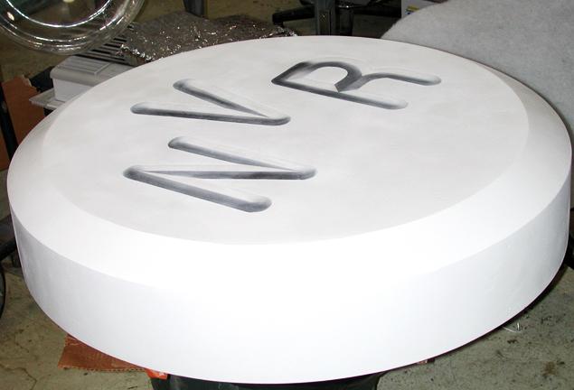giant pill raft prop for ocean scene
