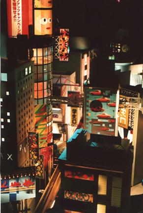 Miniature Tokyo at night model