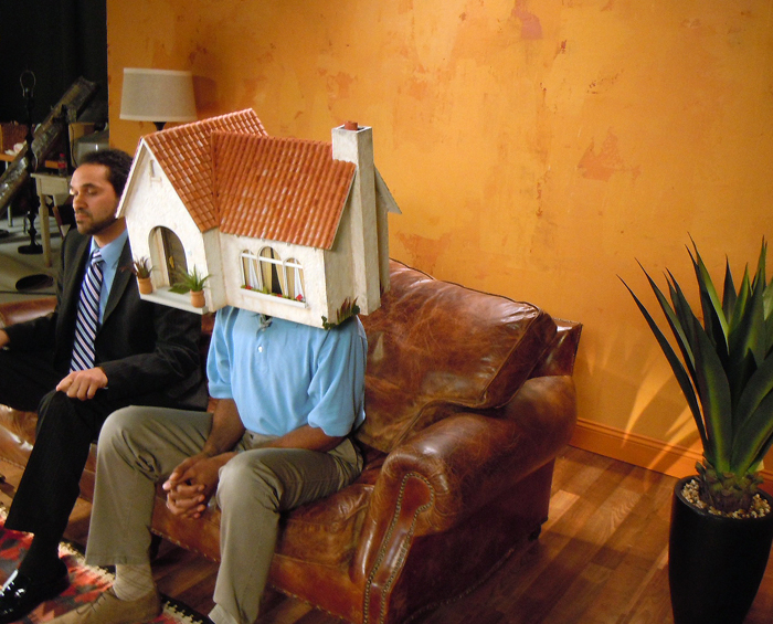 Miniature house mask prop