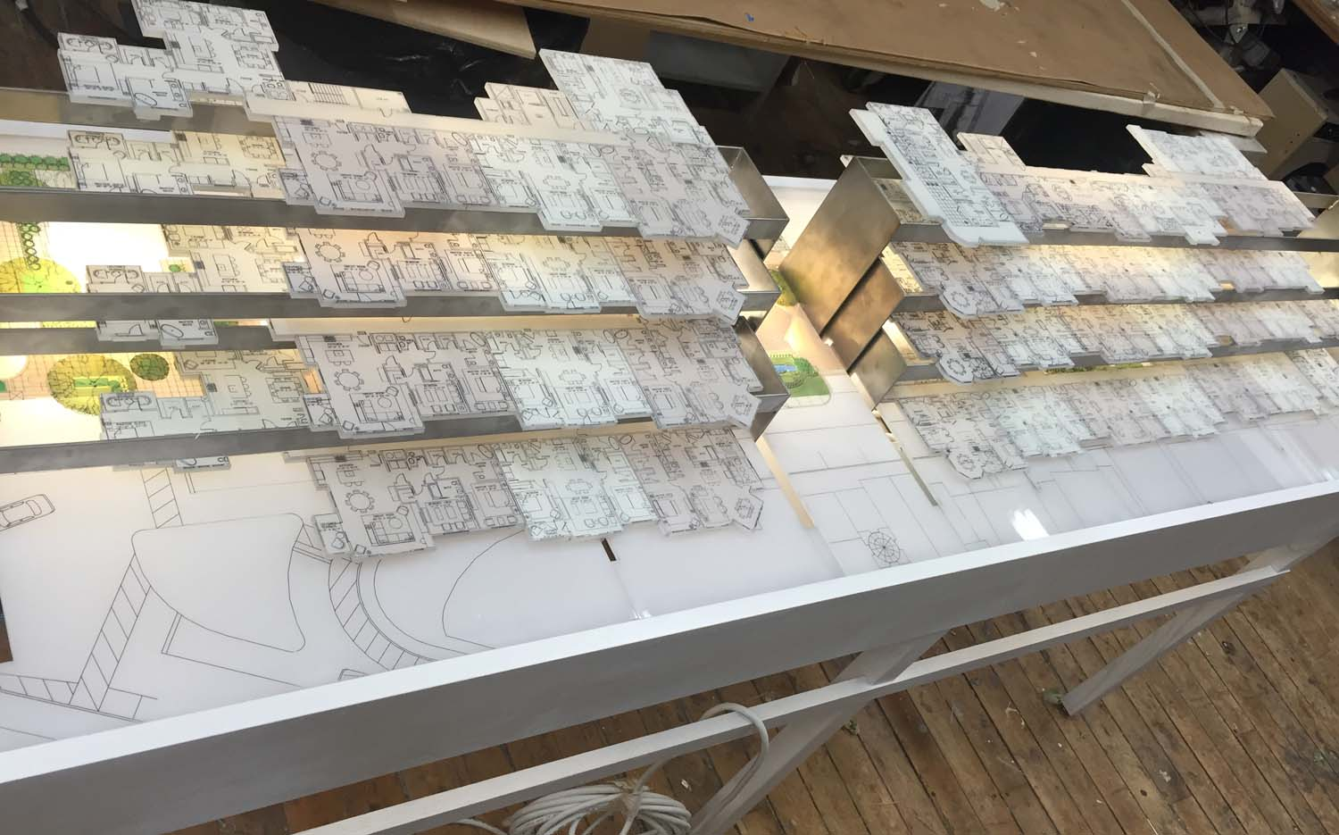 This was a floor plan model for a real estate company. The floors slide forward and back, so you can pick your condo while visualizing where is it in the building.