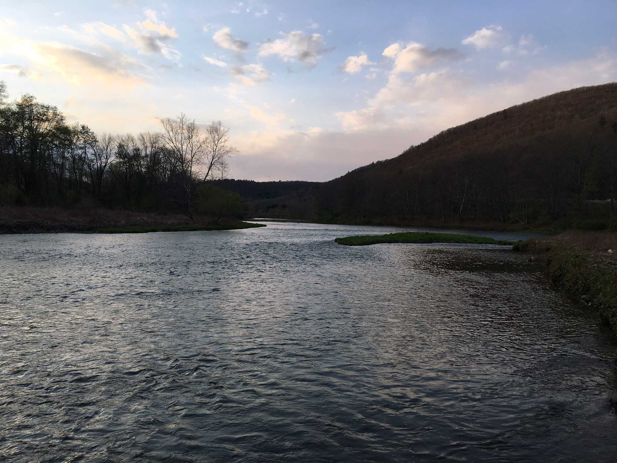 The West Branch of the Delaware River at sunset.
