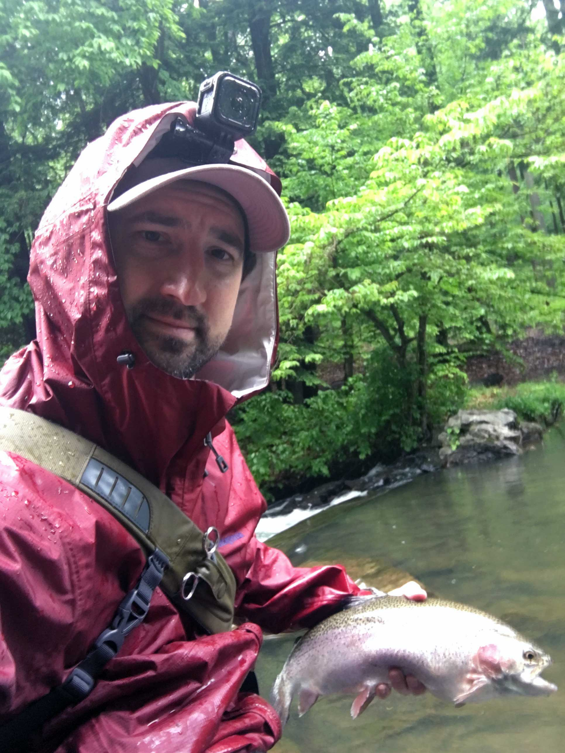 Fishing in the rain at Yellow Creek Trout Club was rewarding.