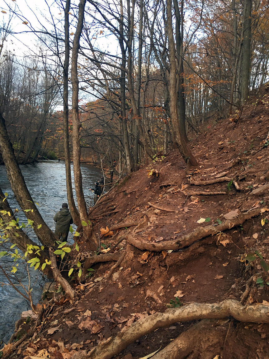 The steep path that leads downriver.