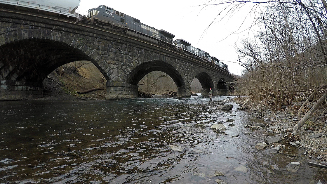 The famous arched railroad bridge on the Rothrock game lands.