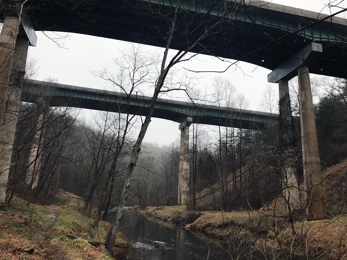 The Rt. 83 bridges ominously rising above the Gunpowder Falls River.