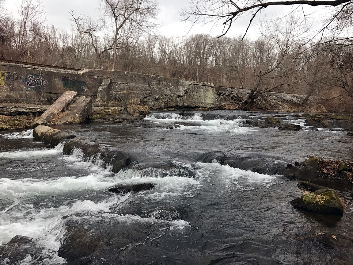 The waterfalls somewhere way downstream on the Monocacy.
