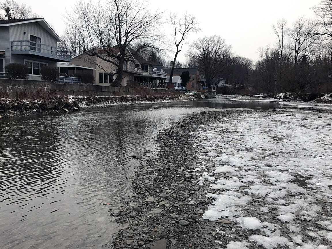 Looking upstream at the low water conditions on 16 Mile Creek.