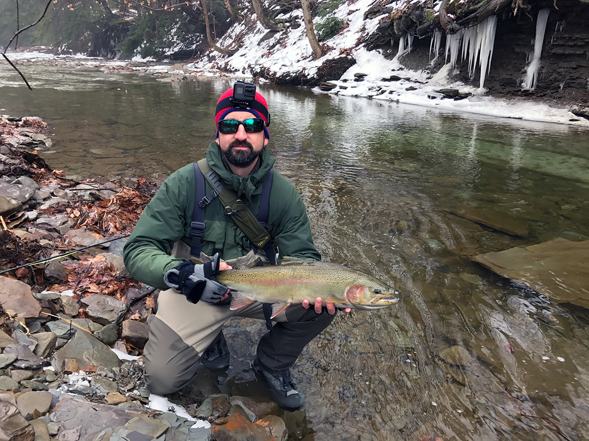 The other steelhead I caught on Sunday. Jon, thanks for letting me borrow your hat!