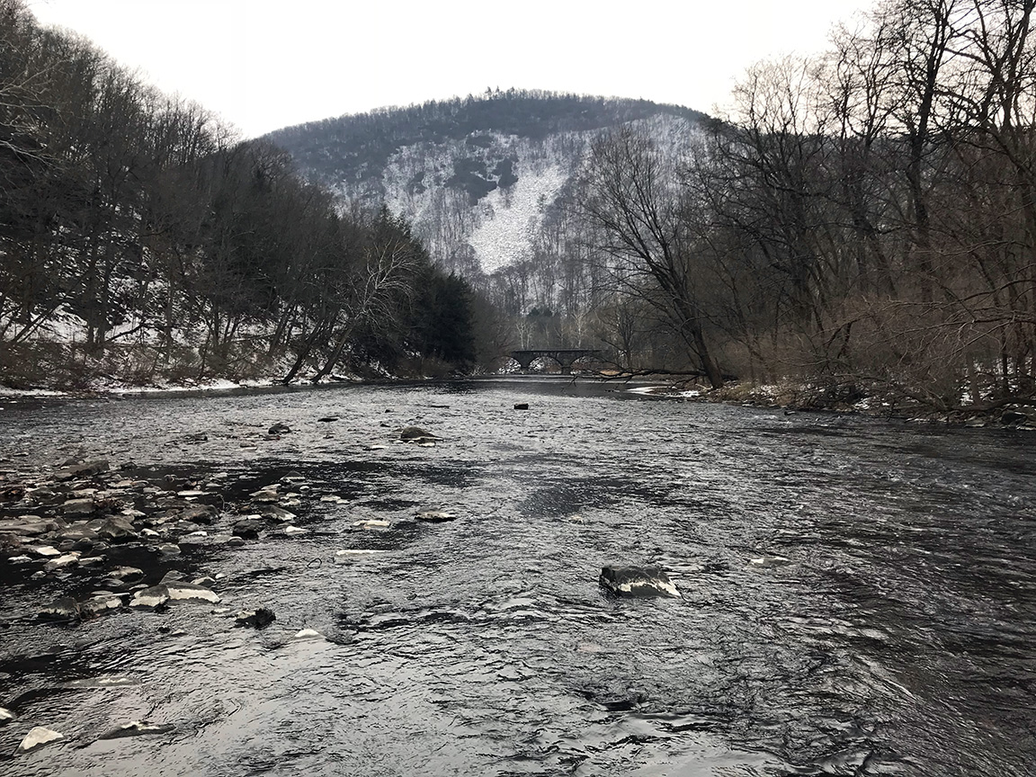 Somewhere in the gorge looking downstream on the Little Juniata River.