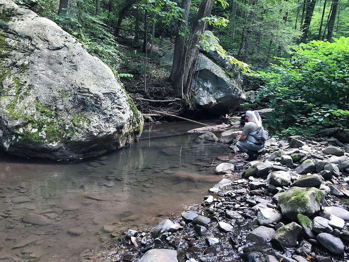 Matt Willison fishing one of the first holes on Crabtree Creek.