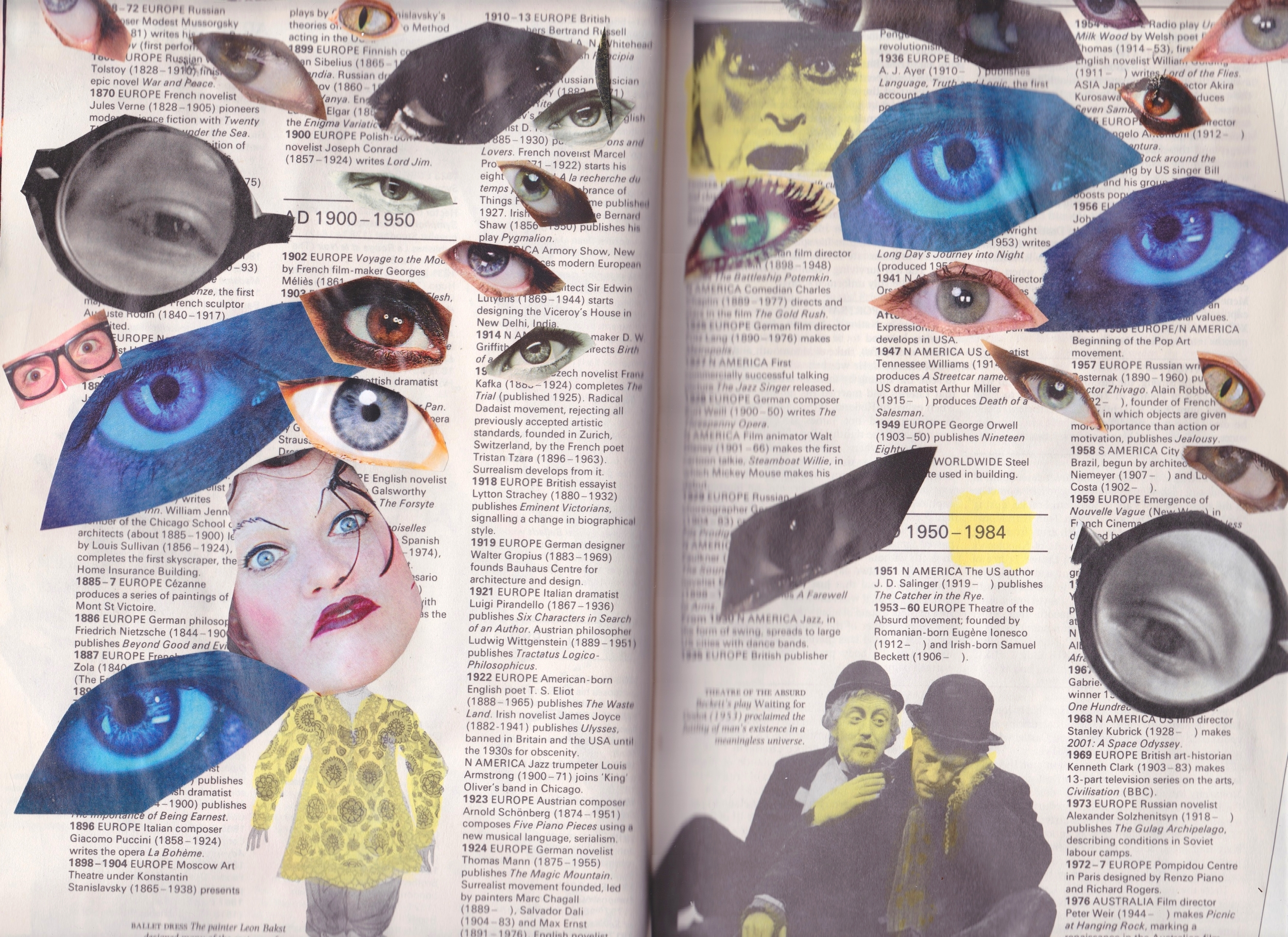 Altered Book (Reader's Digest Book of Facts) - collage & highlighter