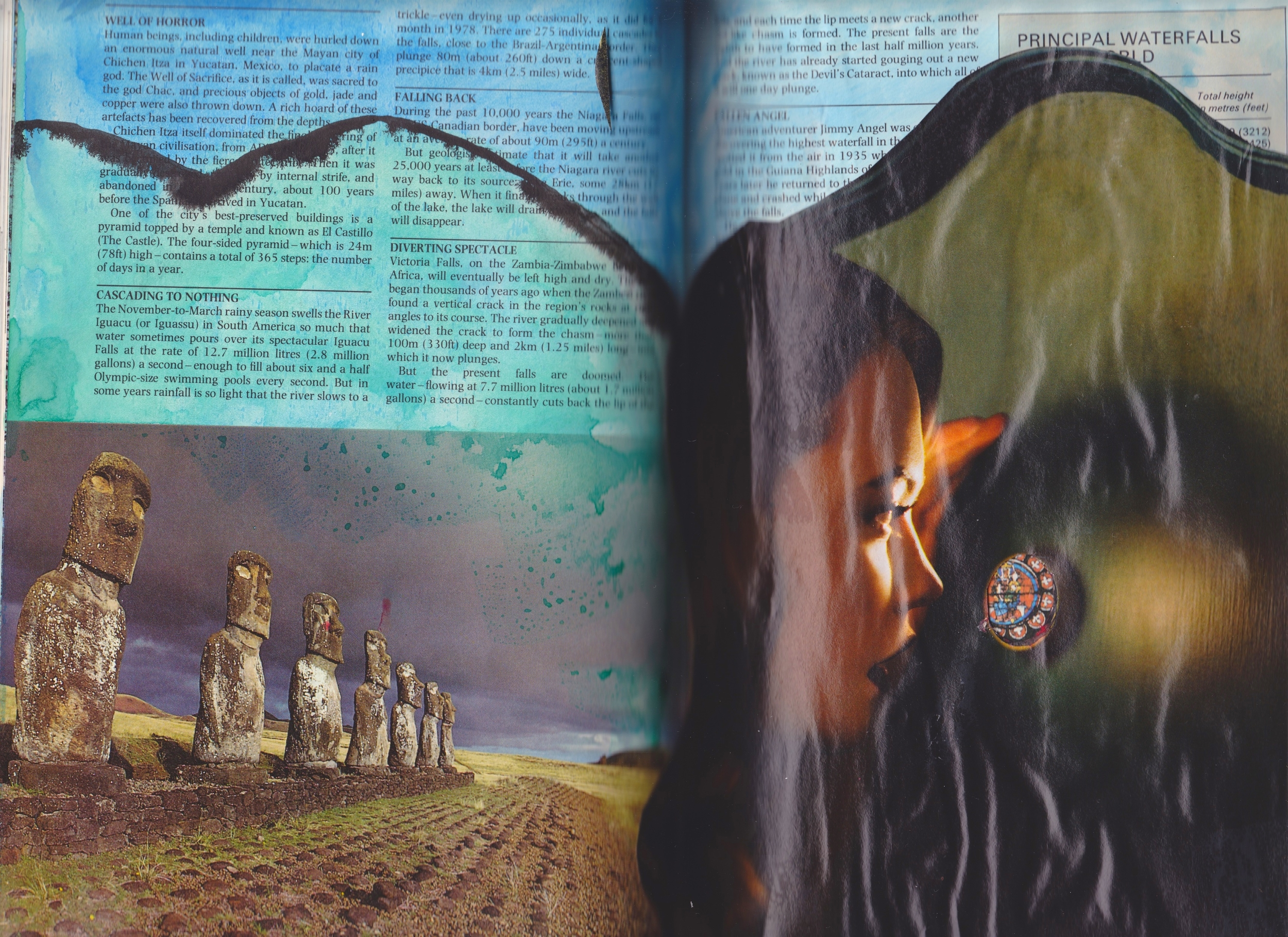 Altered Book (Reader's Digest Book of Facts) - watercolour & collage