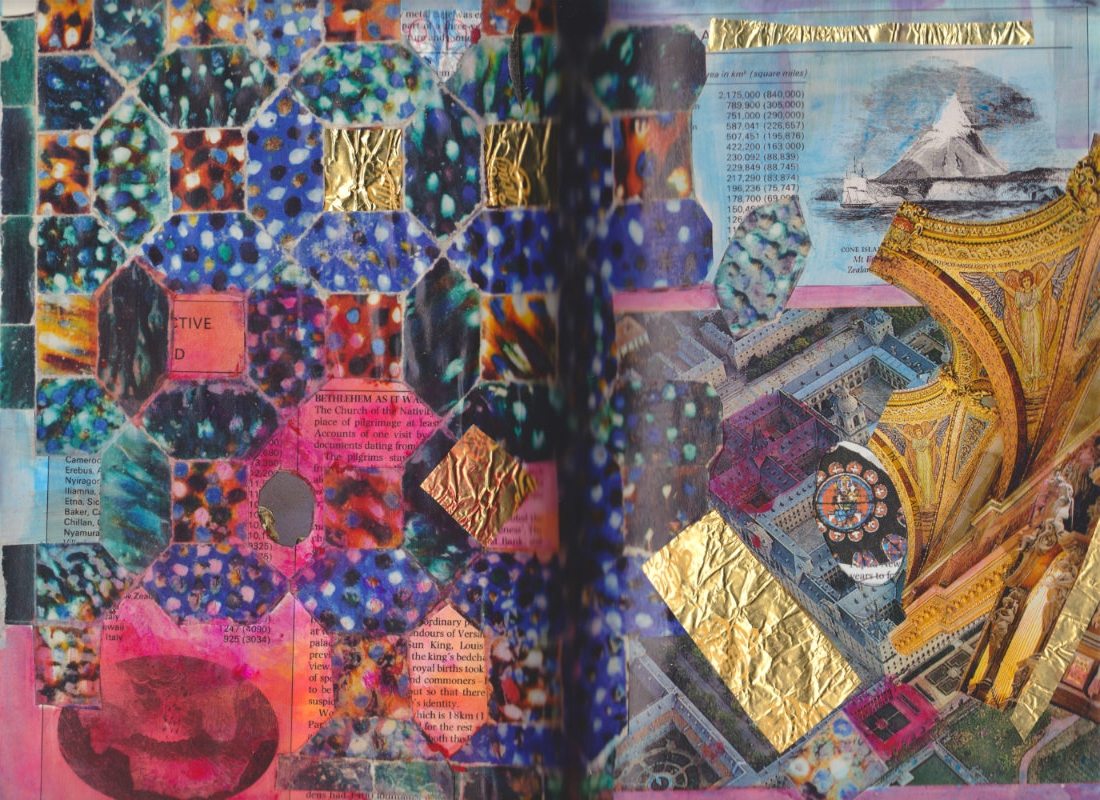 Altered Book (Reader's Digest Book of Facts) - collage, watercolour, cut outs