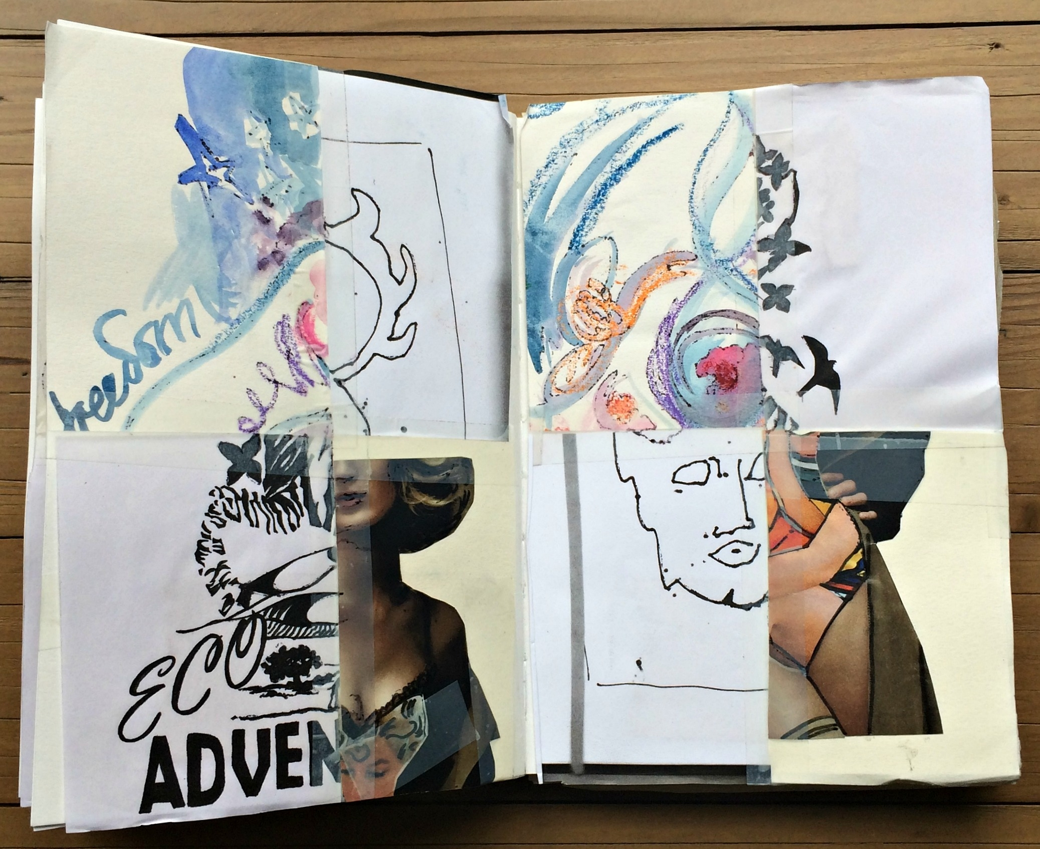 Sketchbook 1: drawings spliced to create a new image