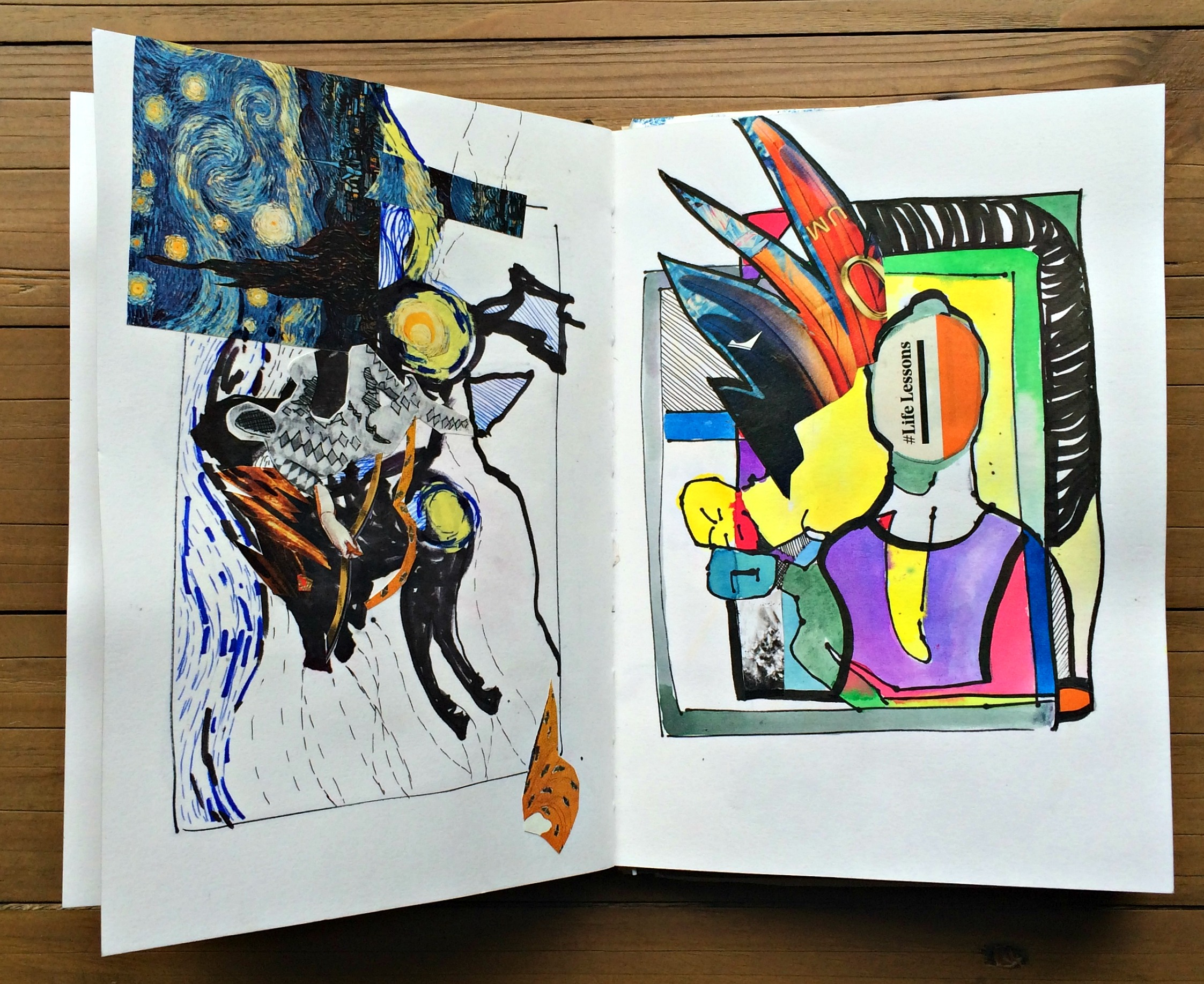 Sketchbook 1: layered sketches collaged & coloured
