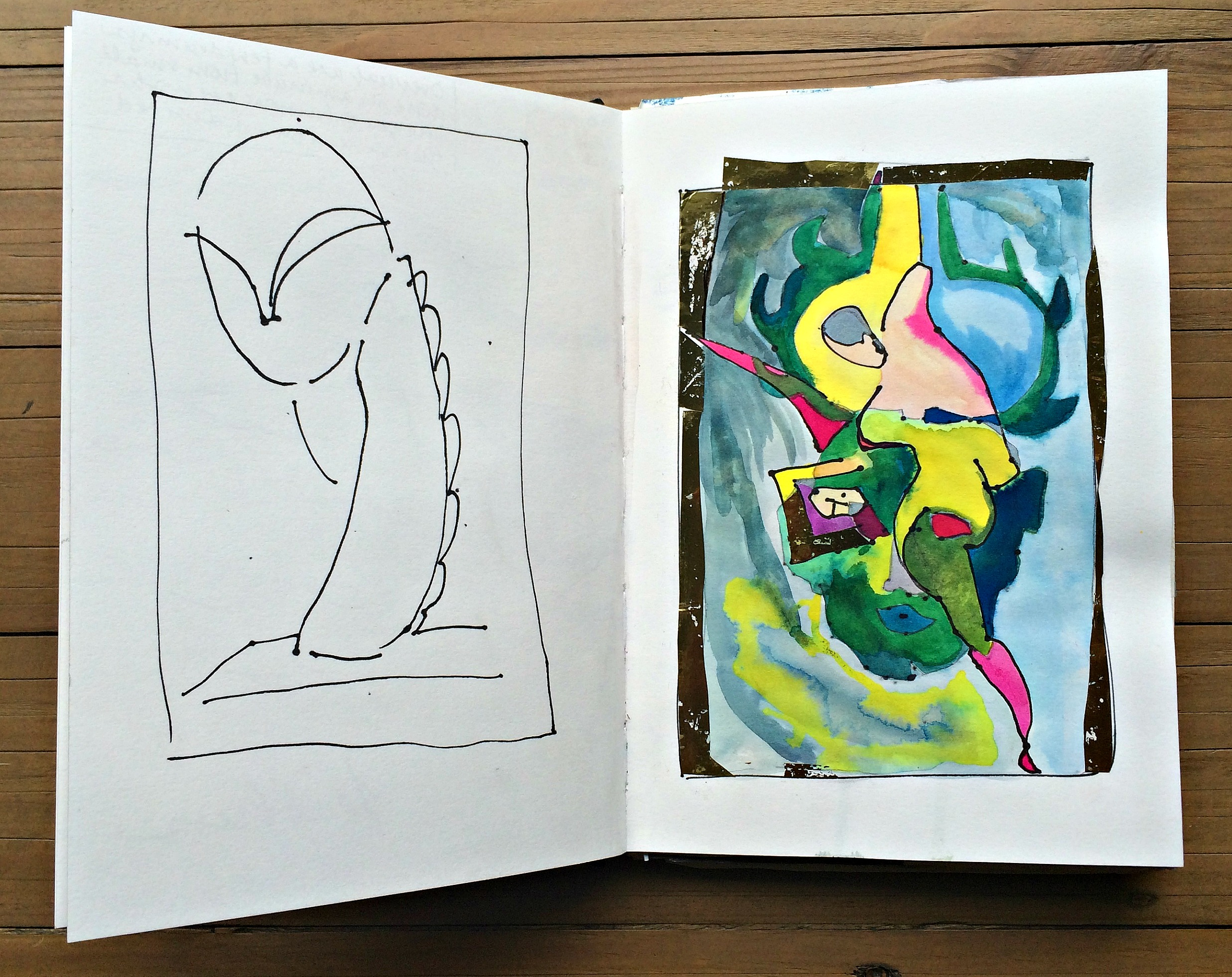 Sketchbook 1: one minute sketches from art works, then reimagined