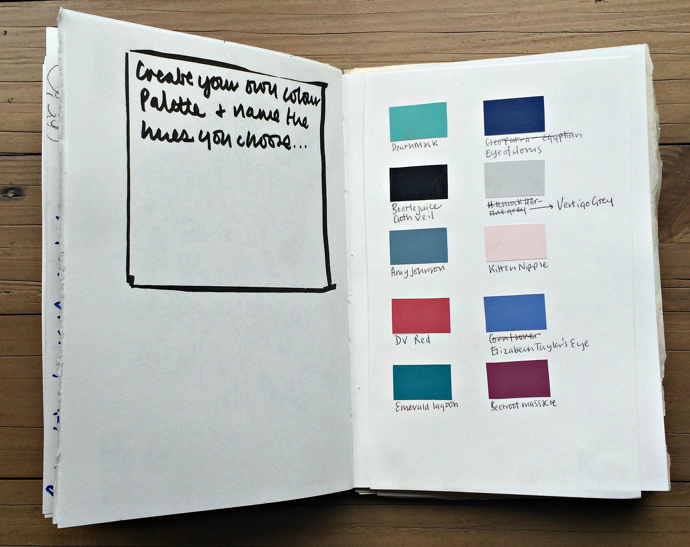 Sketchbook 1: my colour palette