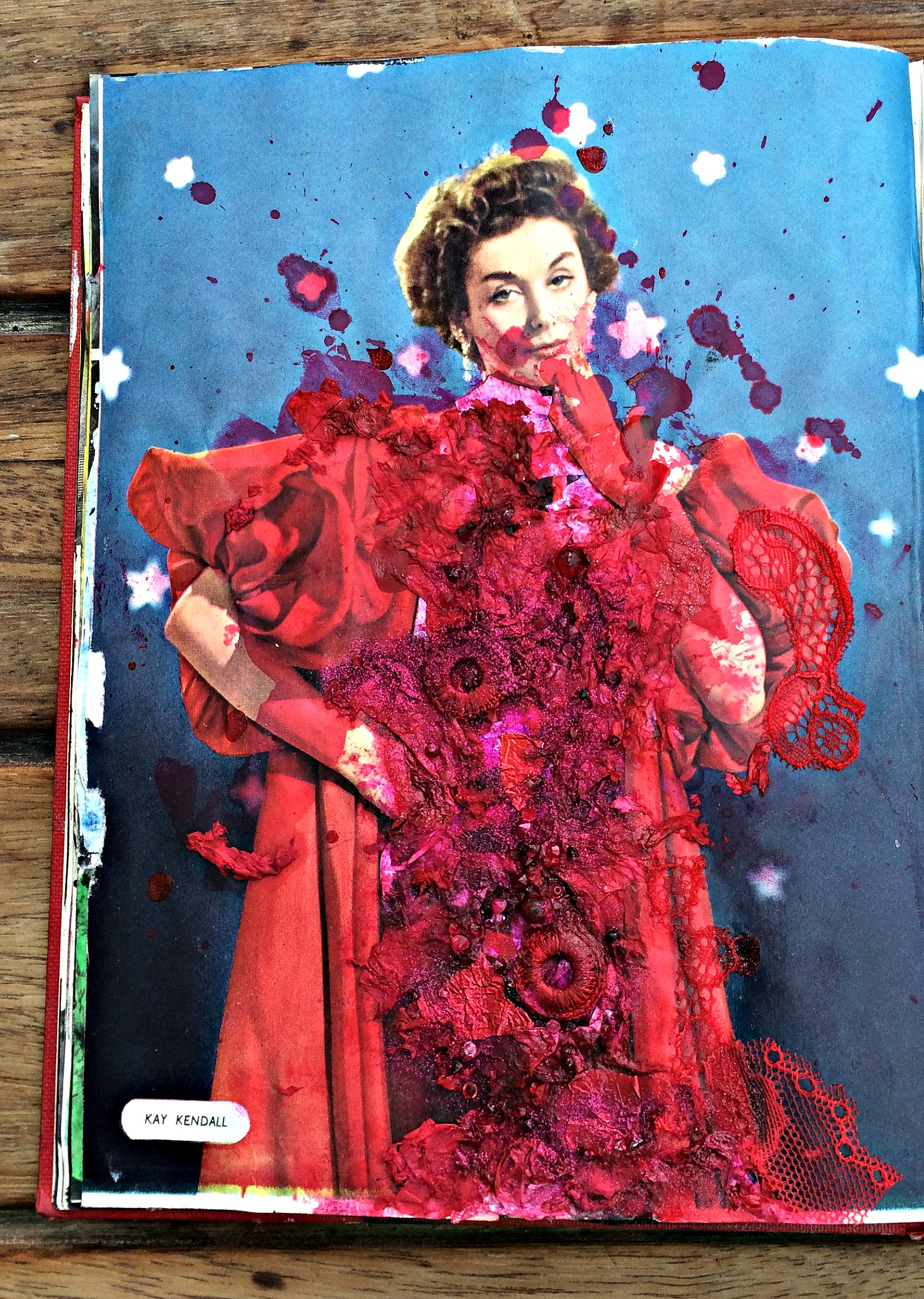 Altered Book (Preview 1955): seed burst in paint, collage, glitter