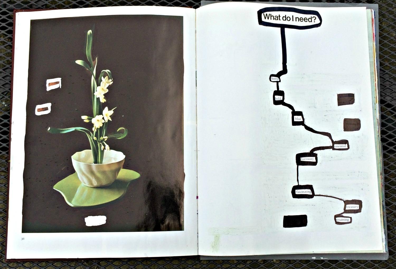 Altered Book (Japanese Flower Arranging) - ink, Tippex, etc