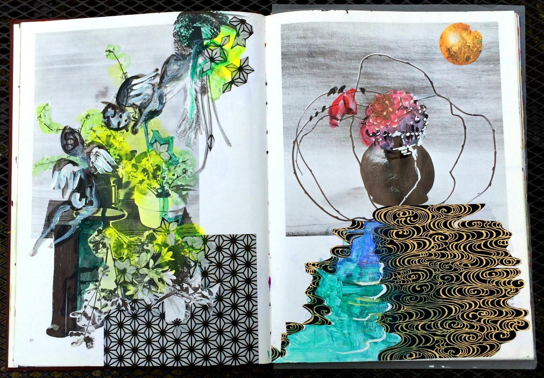 Altered Book (Japanese Flower Arranging): surreal landscapes