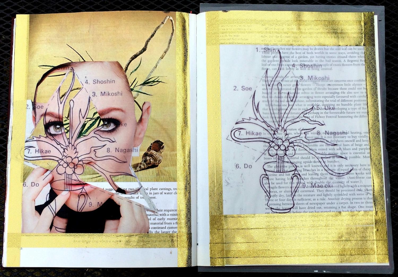 Altered Book (Japanese Flower Arranging): illustrations, washi tape