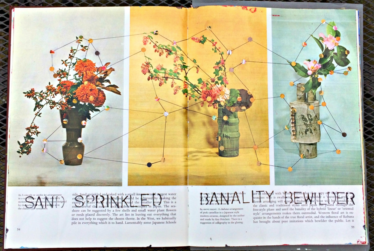 Altered Book (Japanese Flower Arranging): dot to dot collage