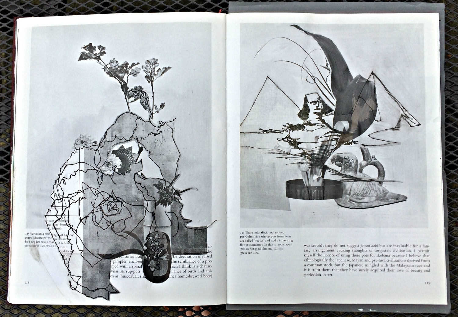 Altered Book (Japanese Flower Arranging): unsighted sketches layered
