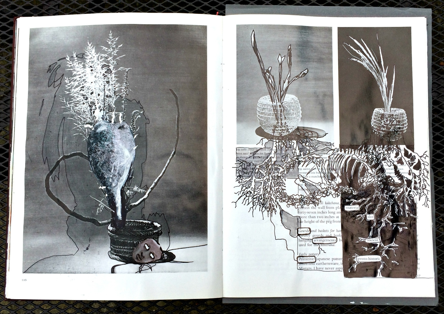 Altered Book (Japanese Flower Arranging): ink, collage, paint
