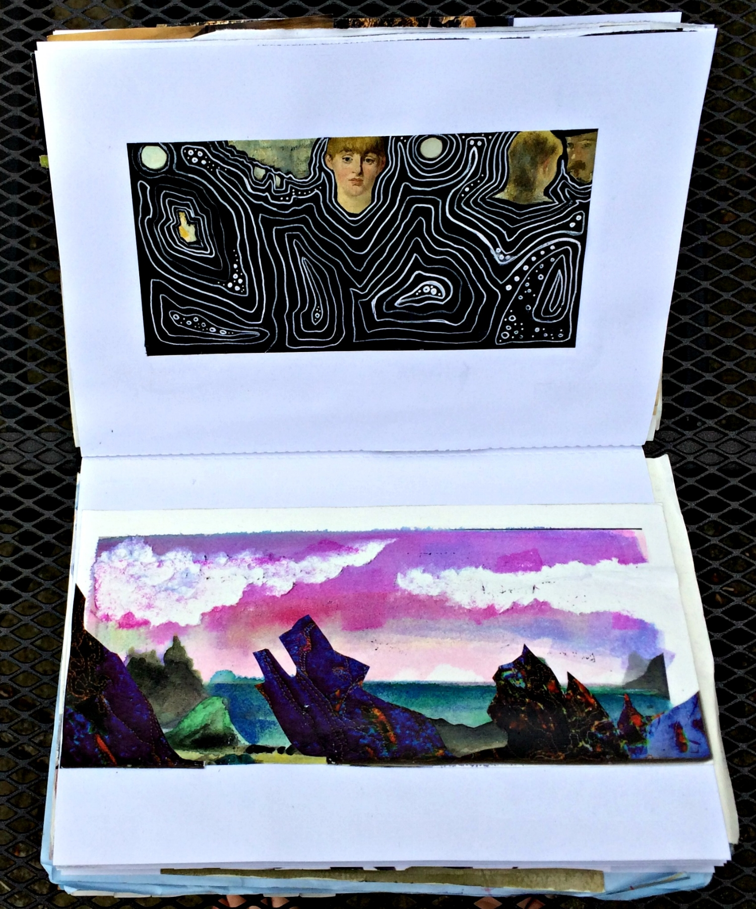 Altered Book (Japanese Flower Arranging): landscape, doodle, etc