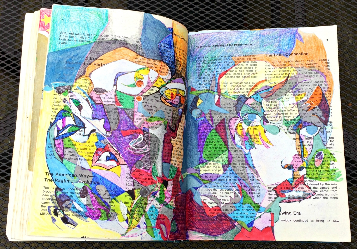 Altered Book (Disco Dance Moves): blind drawing, coloured