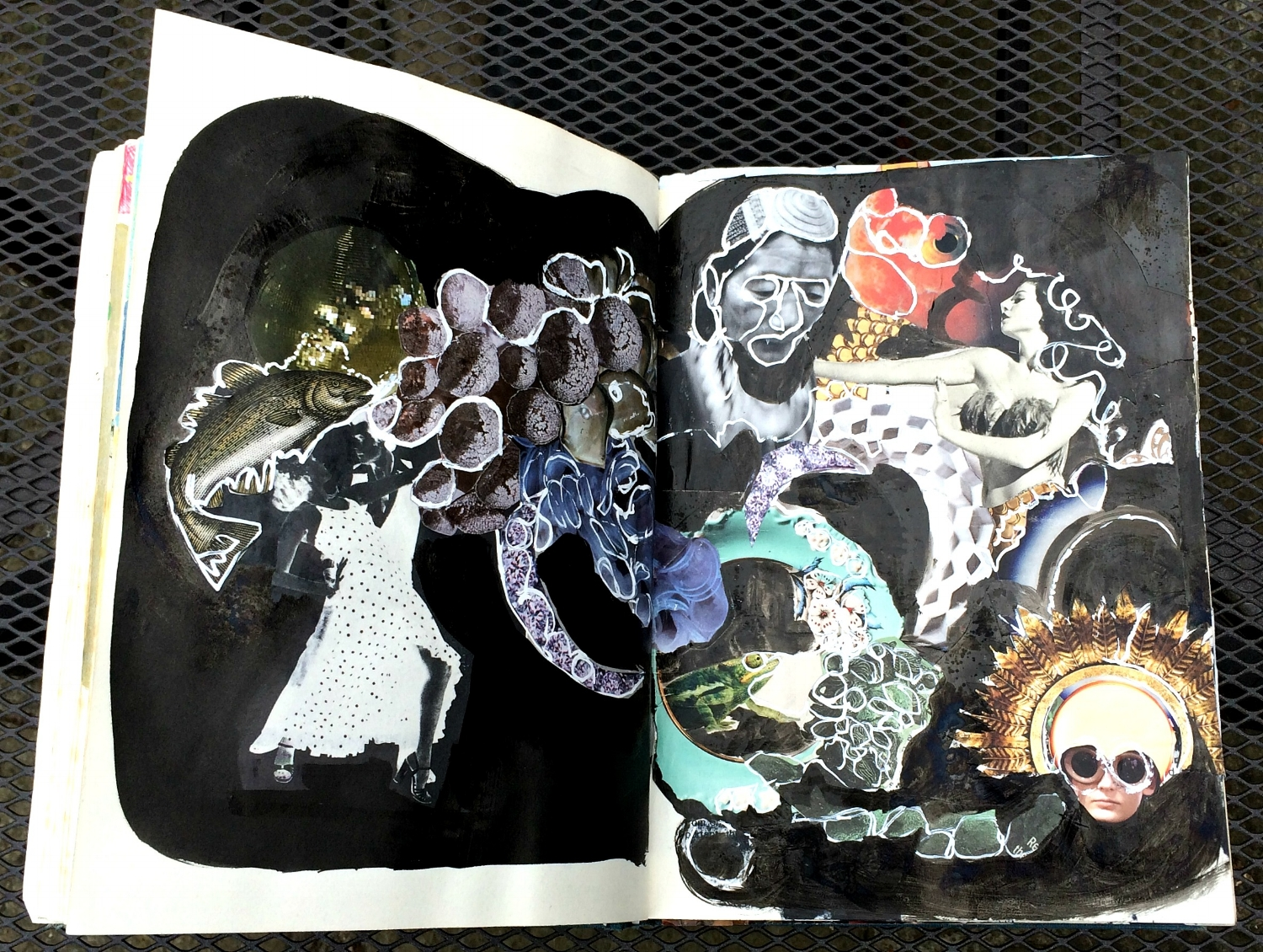 Altered Book (Disco Dance Moves): collage, paint, etc