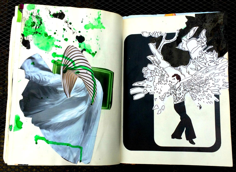 Altered Book (Disco Dance Moves): collage, colour, etc