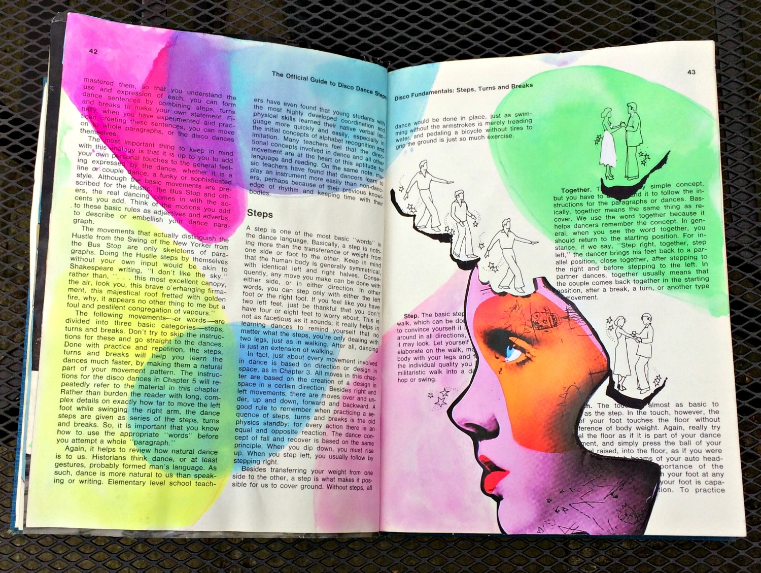 Altered Book (Disco Dance Moves): random shapes, colour, collage