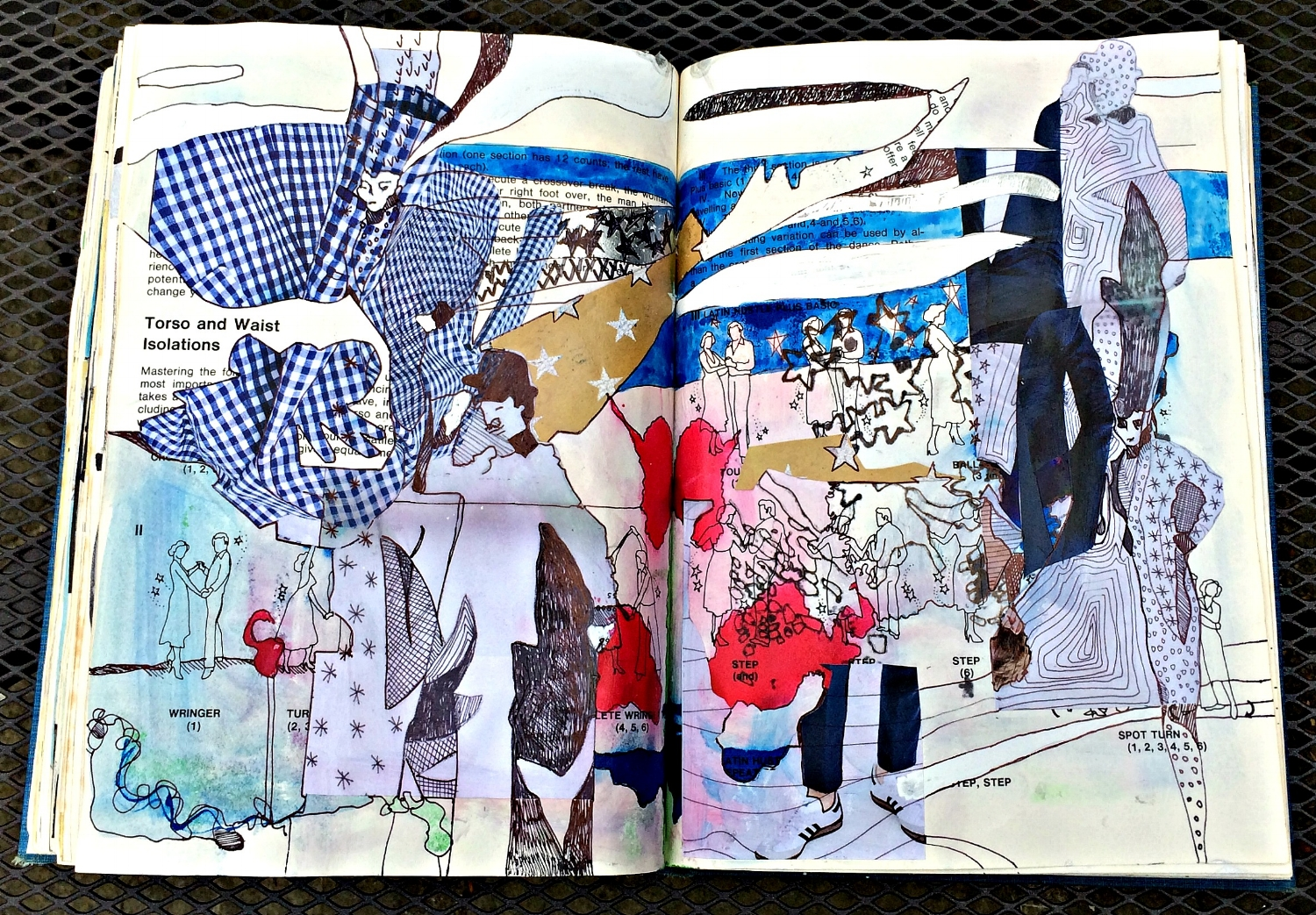 Altered Book (Disco Dance Moves): collage, repeats, etc