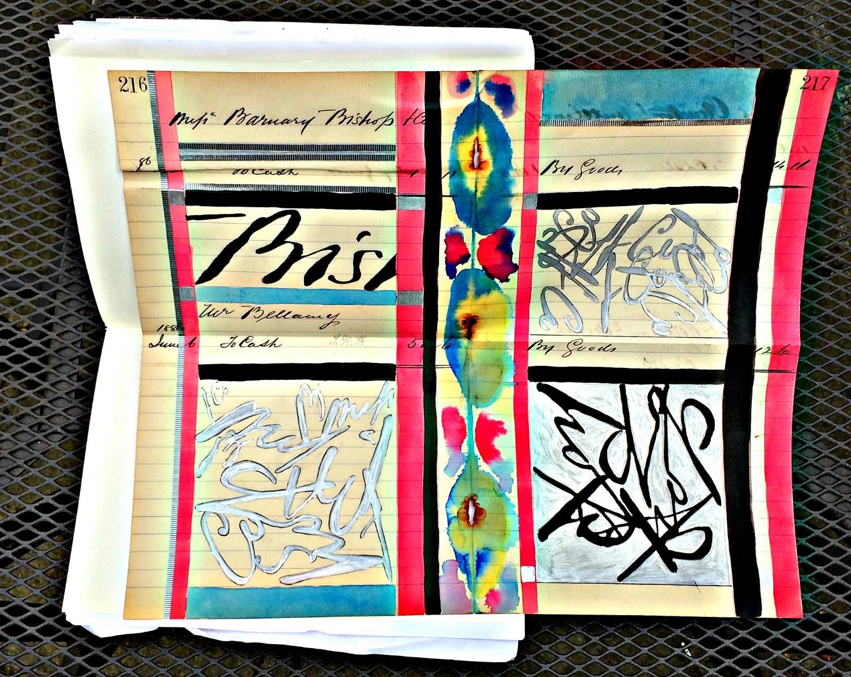 Sketchbook: ink, watercolour, tape on antique ledger