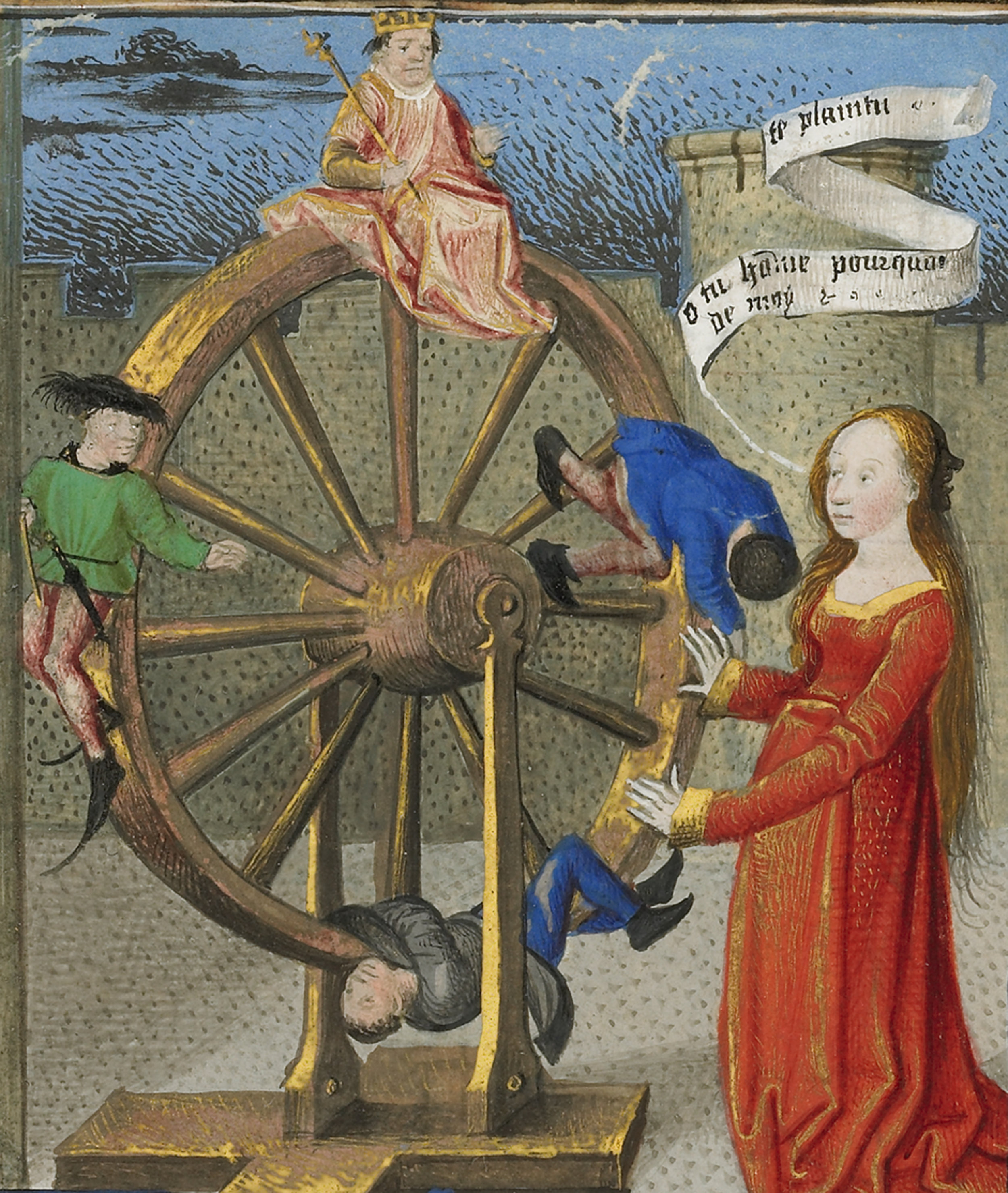 Coëtivy Master (Henri de Vulcop?) (French, active about 1450 - 1485)   Philosophy Consoling Boethius and Fortune Turning the Wheel  , about 1460 - 1470, Tempera colors, gold leaf, and gold paint on parchment   Leaf: 7.3 x 17 cm (2 7/8 x 6 11/16 in.)   The J. Paul Getty Museum, Los Angeles