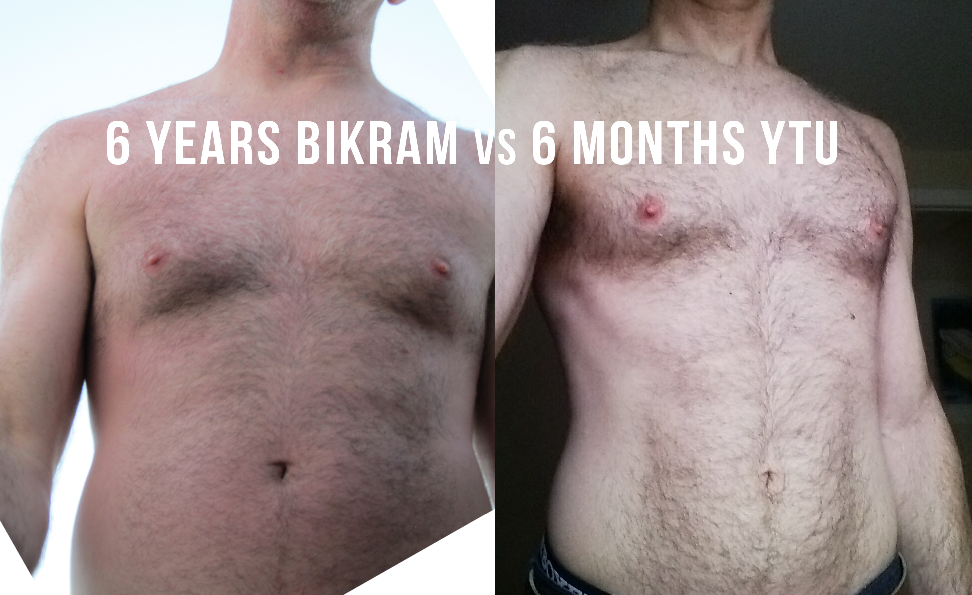 I don't have a lot of pictures of my gross hairy chest, but my son happened to snap the one on the left while we were on vacation before starting Yoga Tune Up®, so I took another today. It's not the greatest before/after, but still. . .turns out I have ribs.