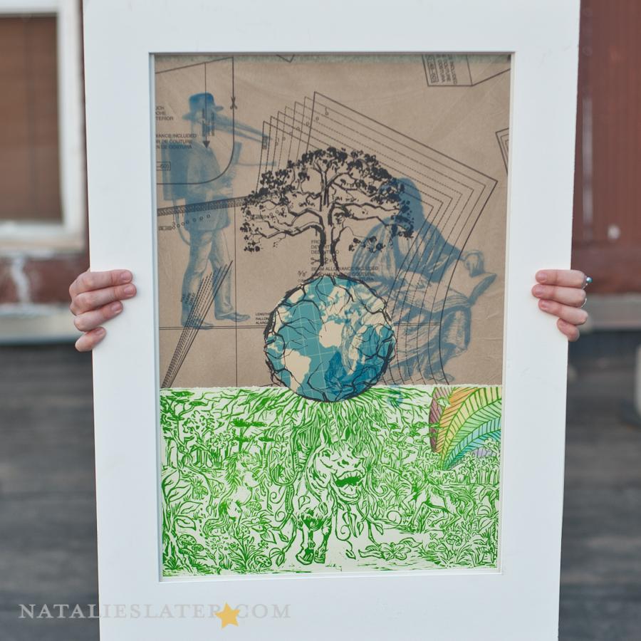 Collabrative Piece; Lithography, Linoleum, Screenprint, Watercolor, Collage