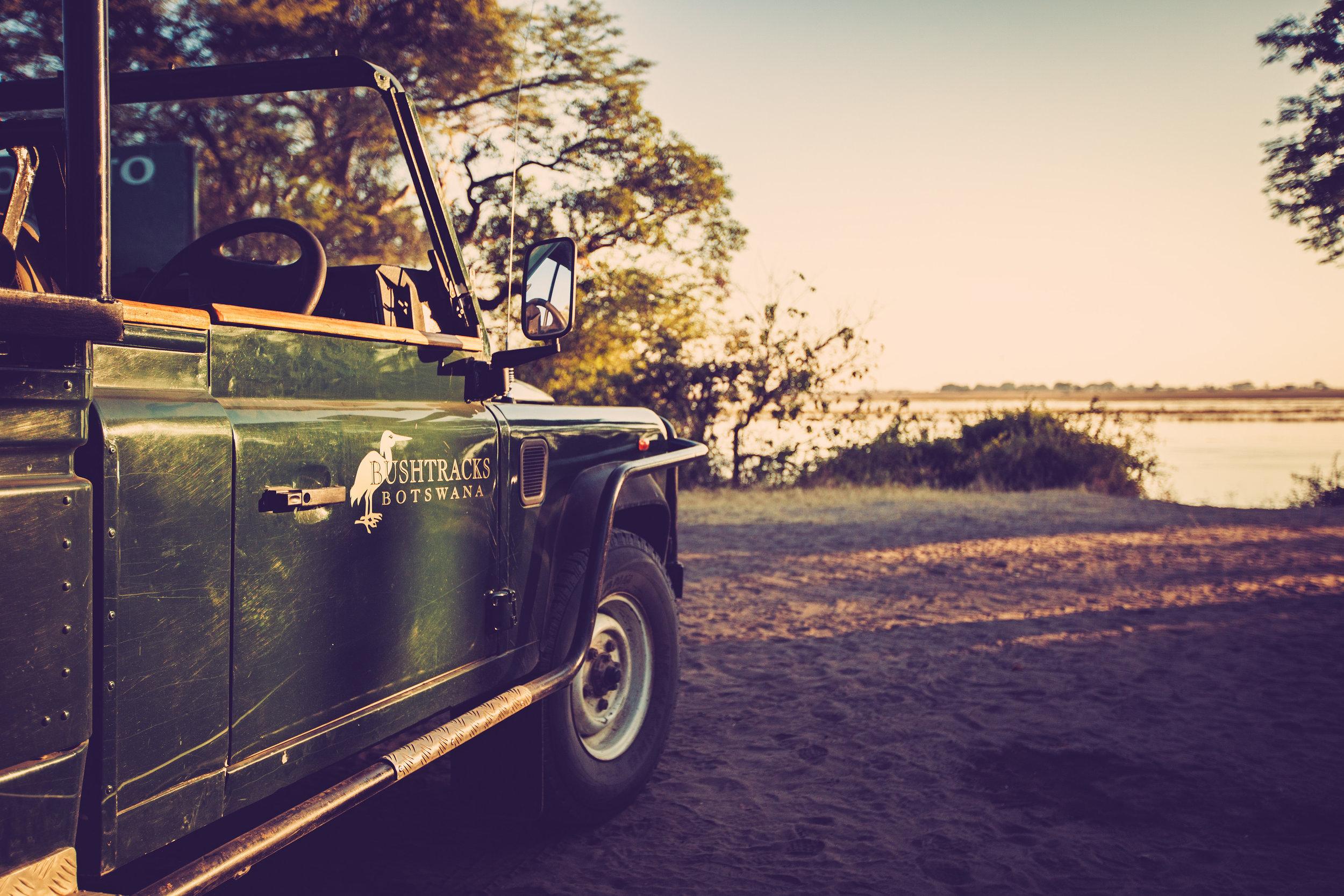 BUSHTRACKS  ::  Stopping for a sunrise coffee break along the banks of the Chobe River.Chobe National ParkKasane, Botswana