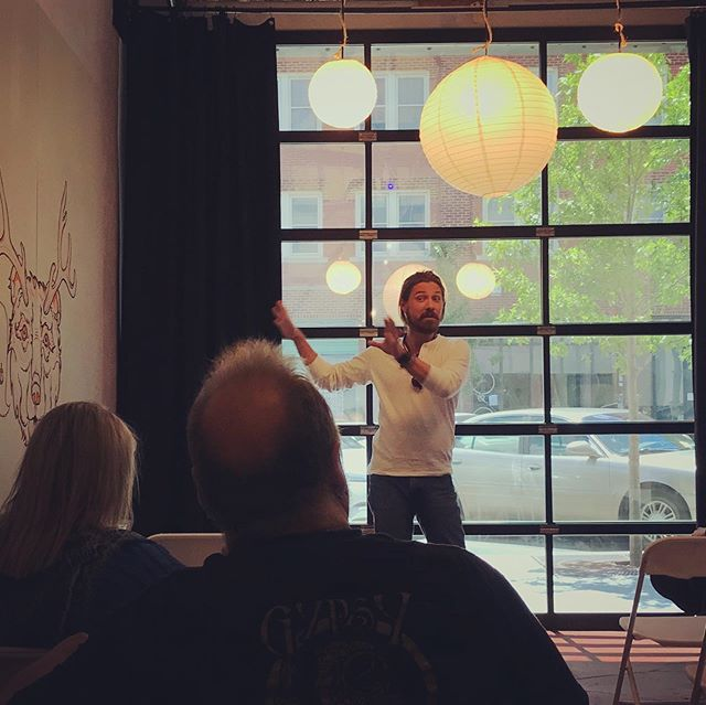 Getting a @thehopjam recap from @taylorhanson at the @tulartsdist Business Association meeting. #buylocal #local #localbrand #drinklocal #eatlocal #localbusiness #tulsa #webb #webbbranding #getfoundonline #tulsaartsdistrict #hanson #tulsamusic