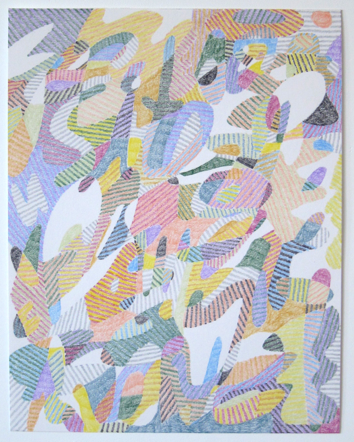 """Drawing No. 22            2016 Colored pencil on paper 11"""" x 14"""" $1,800 (framed)"""